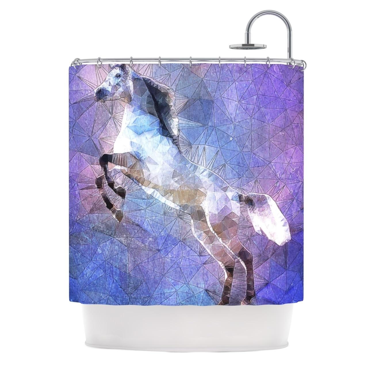 Kess InHouse Ancello Abstract Horse Purple Blue Shower Cu...