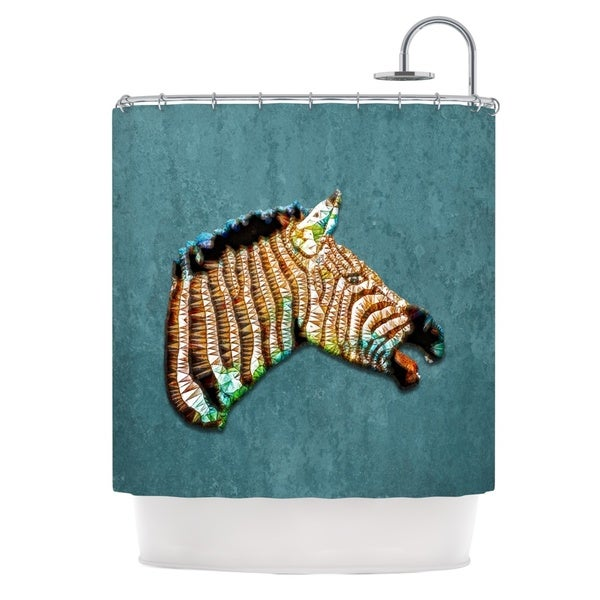 KESS InHouse Ancello Laughing Zebra Teal Shower Curtain (69x70)