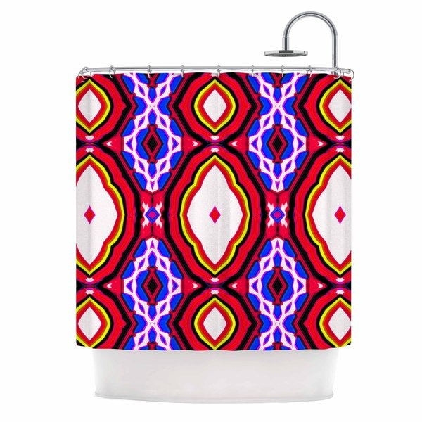 KESS InHouse Dawid Roc Inspired By Psychedelic Art 2 Red Abstract Shower Curtain (69x70)