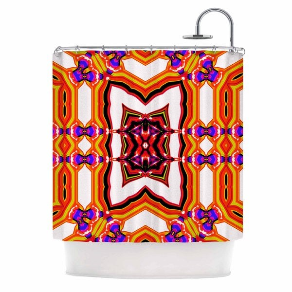 KESS InHouse Dawid Roc Inspired By Psychedelic Art 4 Orange Abstract Shower Curtain (69x70)