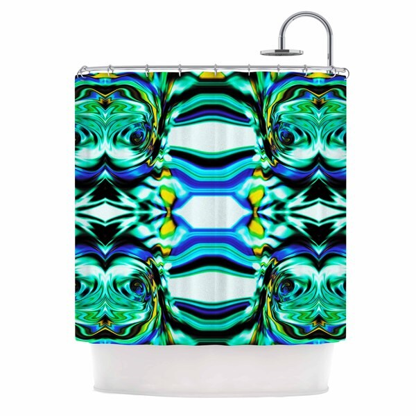 KESS InHouse Dawid Roc Inspired By Psychedelic Art 5 Blue Abstract Shower Curtain (69x70)
