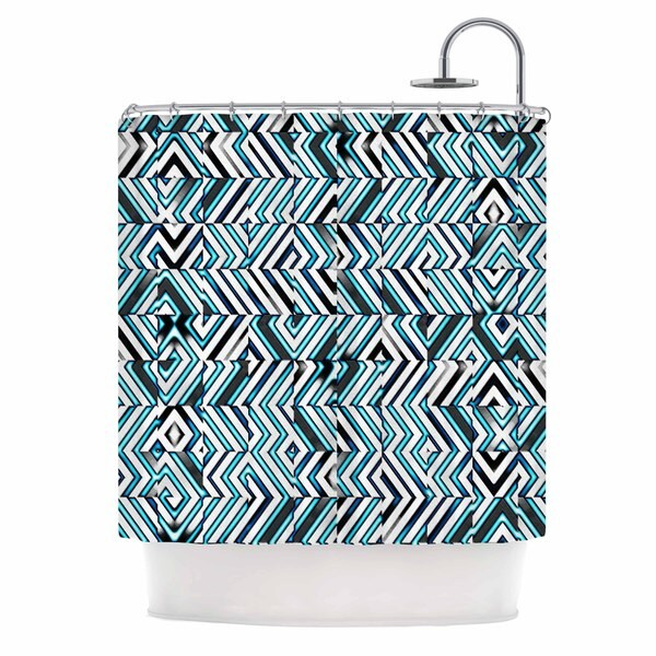 KESS InHouse Dawid Roc Maze Geometric Abstract 2 Teal Pattern Shower Curtain (69x70)