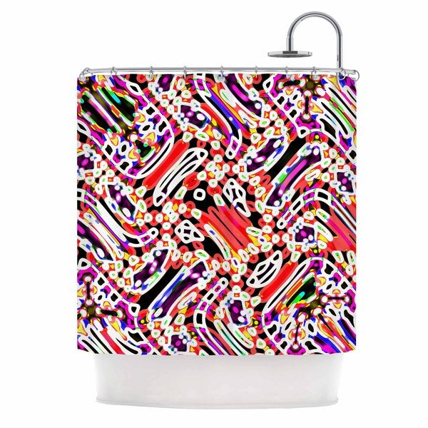 KESS InHouse Dawid Roc Camouflage Pattern 2 Multicolor Abstract Shower Curtain (69x70)