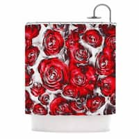 KESS InHouse Dawid Roc Red Roses Floral Abstract Red Abstract Shower Curtain (69x70)
