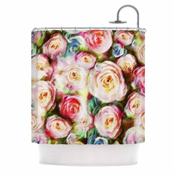 KESS InHouse Dawid Roc Pastel Rose Romantic Gifts Green Photography Shower Curtain (69x70)