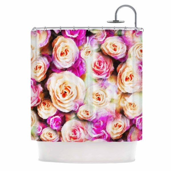 KESS InHouse Dawid Roc Sweet Pastel Pink Rose Flowers Multicolor Floral Shower Curtain (69x70)