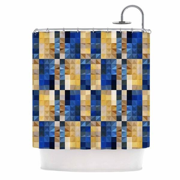 KESS InHouse Dawid Roc New Stripes Mosaic Blue Gold Shower Curtain (69x70)