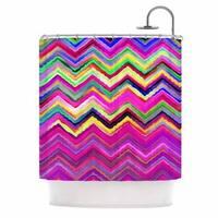 KESS InHouse Dawid Roc Colorful Chevron Purple Pink Shower Curtain (69x70)