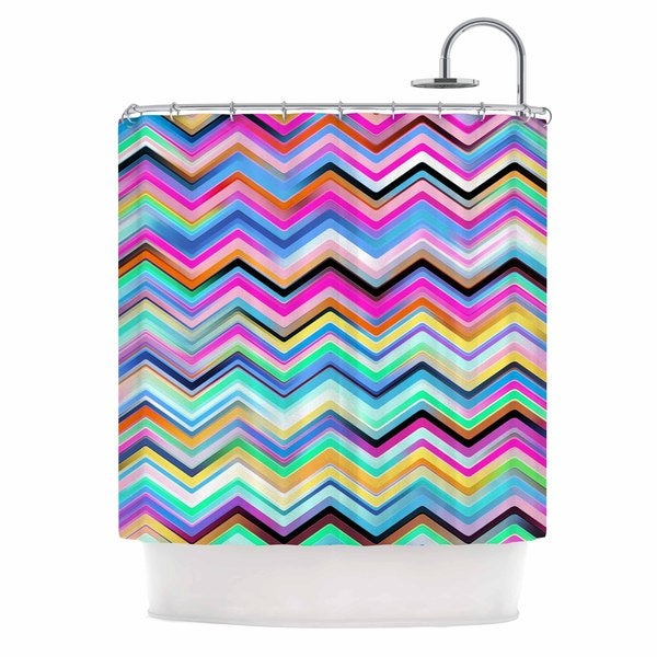 KESS InHouse Dawid Roc Colorful Rainbow Chevron Multicolor Blue Shower Curtain (69x70)
