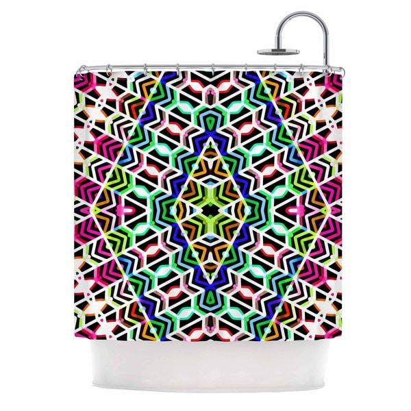 KESS InHouse Dawid Roc Colorful Tribal Pattern Multicolor Blue Shower Curtain (69x70)