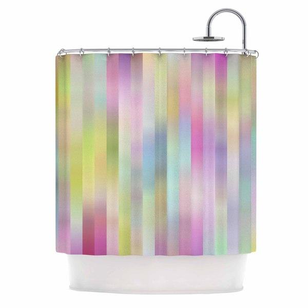 KESS InHouse Dawid Roc Sweet Pastel Lines 1 Green Pink Shower Curtain (69x70)