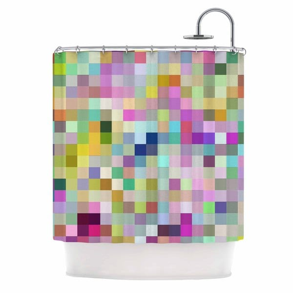 KESS InHouse Dawid Roc Colorful Pixels Multicolor Blue Shower Curtain (69x70)