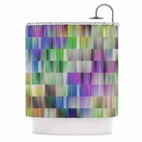 KESS InHouse Dawid Roc Sweet Pastel Lines 3 Multicolor Magenta Shower Curtain (69x70)