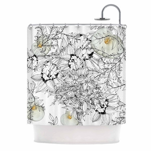 KESS InHouse Danii Pollehn Finebuqet Black White Shower Curtain (69x70)
