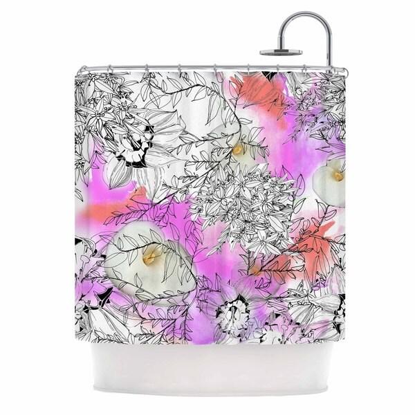 KESS InHouse Danii Pollehn Flowerlights Pink White Shower Curtain (69x70)