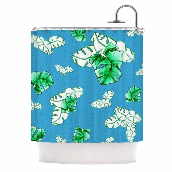KESS InHouse Danii Pollehn Palmtree Green Blue Shower Curtain (69x70)