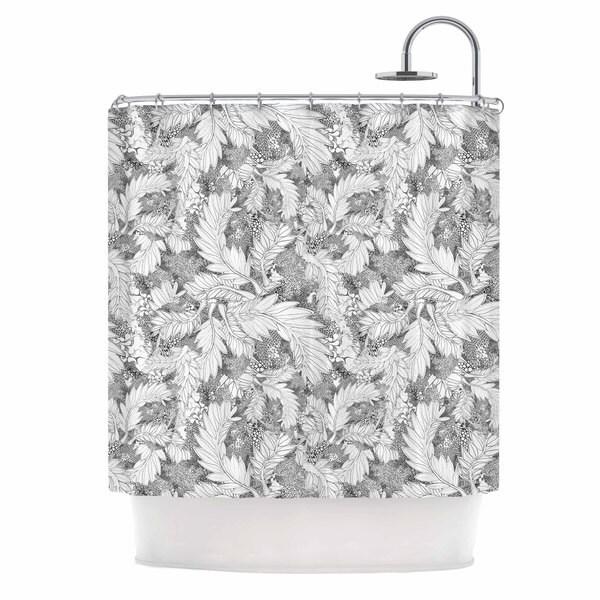 KESS InHouse Danii Pollehn Jungle Paisley Gray White Shower Curtain (69x70)