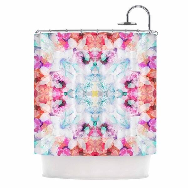 KESS InHouse Danii Pollehn Hibiscus Kaleidoscope Pink Blue Shower Curtain (69x70)