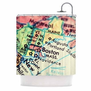 KESS InHouse Debbra Obertanec Boston On The Time Multicolor,Pastel Shower Curtain (69x70)