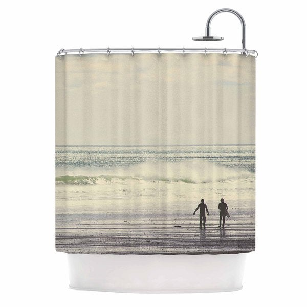 KESS InHouse Debbra Obertanec Sun & Surf Teal White Shower Curtain (69x70)