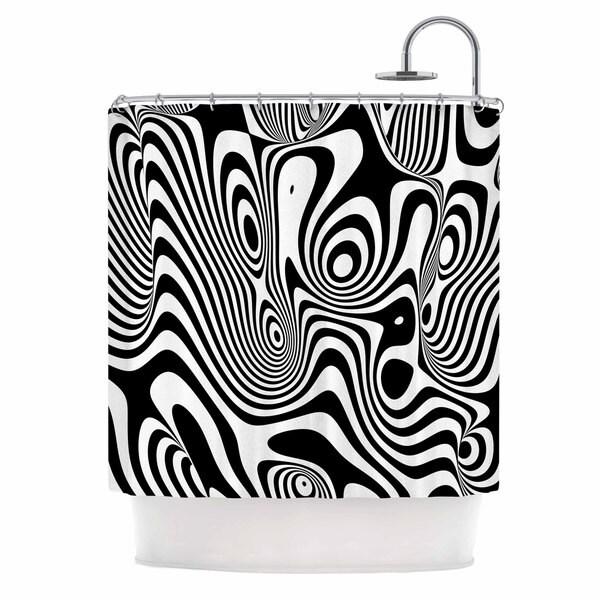 KESS InHouse Danny Ivan Trippy Black White Shower Curtain (69x70)