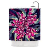 "KESS InHouse Danny Ivan ""Purple Spiral"" Pink Geometric Shower Curtain (69x70) - 69 x 70"
