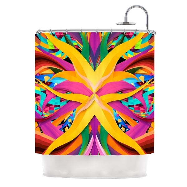 KESS InHouse Danny Ivan Tropical Fun Yellow Pink Shower Curtain (69x70)
