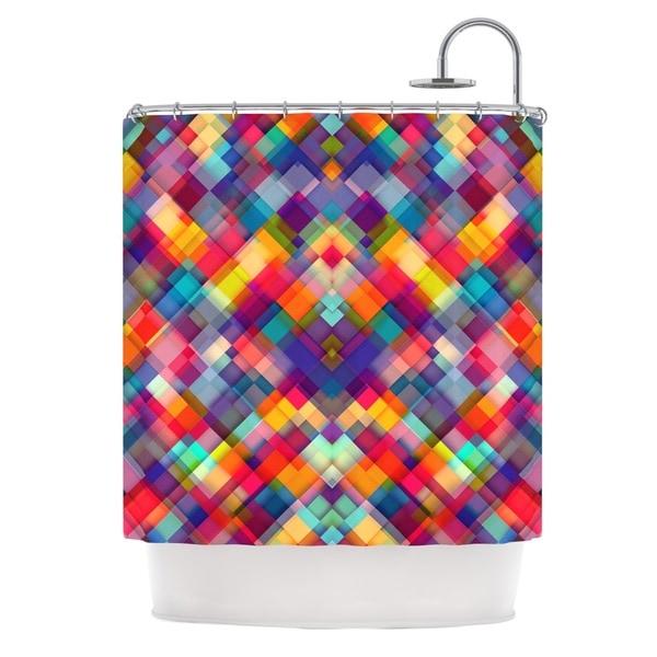 KESS InHouse Danny Ivan Squares Everywhere Rainbow Shapes Shower Curtain (69x70)