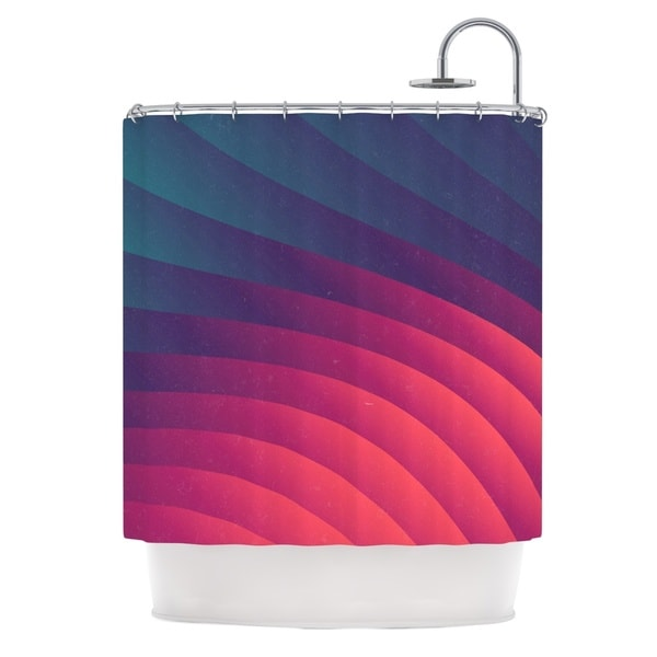 KESS InHouse Danny Ivan Reservoir Lines Pink Geometric Shower Curtain (69x70)