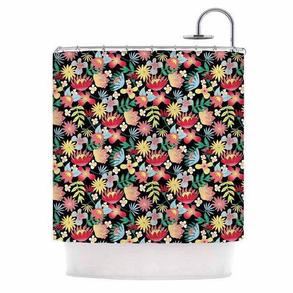 KESS InHouse DLKG Design Flower Power Gold Black Shower Curtain (69x70)