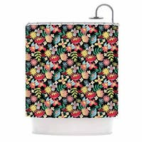 KESS InHouse DLKG Design Flower Power Gold Black Shower Curtain (69x70)