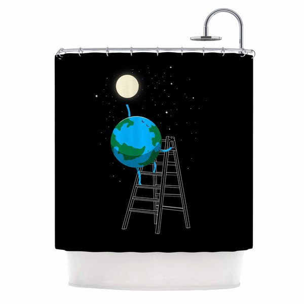 KESS InHouse Digital Carbine Reach The Moon Blue Illustration Shower Curtain (69x70)