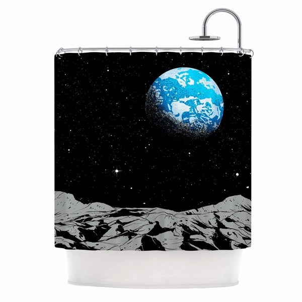 KESS InHouse Digital Carbine From The Moon Blue Geological Shower Curtain (69x70)
