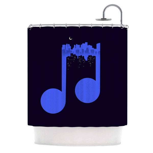 KESS InHouse Digital Carbine Night Music Blue Illustration Shower Curtain (69x70)