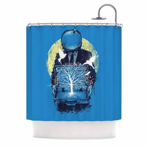 KESS InHouse Digital Carbine A New Life Blue Illustration Shower Curtain (69x70)