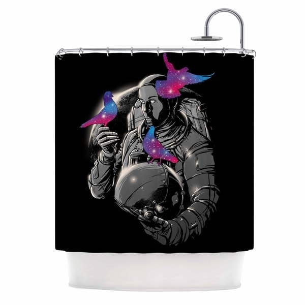 KESS InHouse Digital Carbine A Touch Of Whimsy Black Fantasy Shower Curtain (69x70)