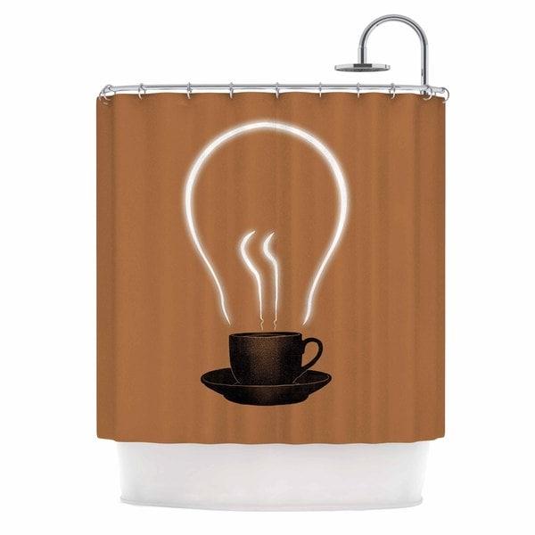 KESS InHouse Digital Carbine The Power Of Coffee Brown Food Shower Curtain (69x70)