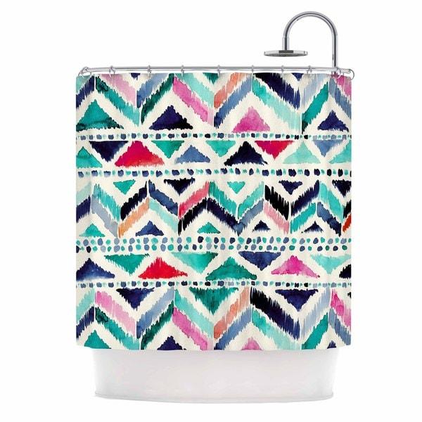 "KESS InHouse Crystal Walen ""Celestial Tribal Stripe"" Teal Chevron Shower Curtain (69x70) - 69 x 70"