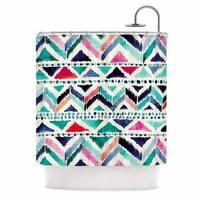 KESS InHouse Crystal Walen Celestial Tribal Stripe Teal Chevron Shower Curtain (69x70)