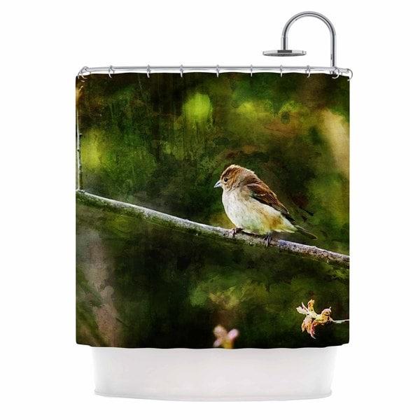 KESS InHouse Ginkelmier Painted Songbird Green Nature Shower Curtain (69x70)