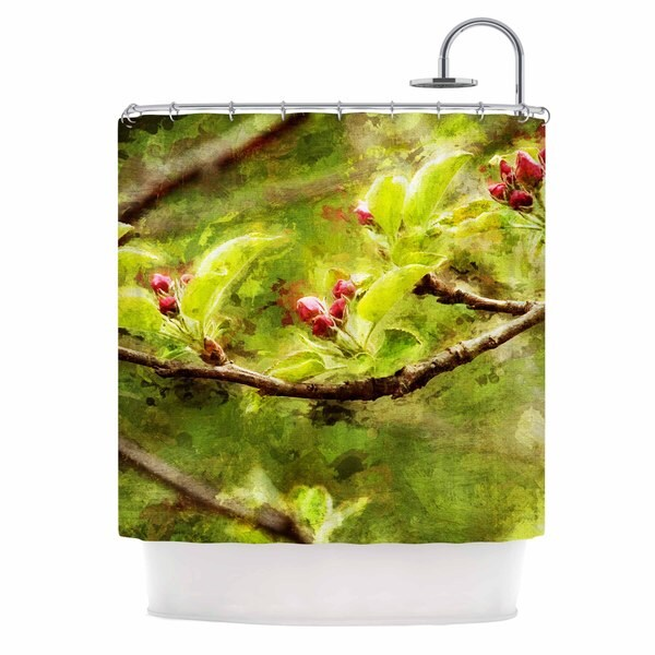 KESS InHouse Ginkelmier Painted Apple Blossom Branch Green Photography Shower Curtain (69x70)