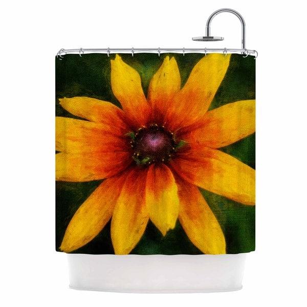 KESS InHouse Ginkelmier Wildflower In Sun Yellow Photography Shower Curtain (69x70)