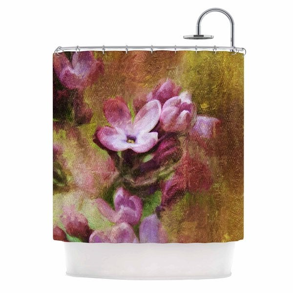 KESS InHouse Ginkelmier Lilacs In Yellow Pink Floral Shower Curtain (69x70)