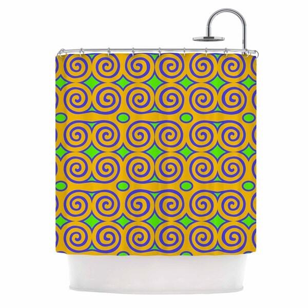 KESS InHouse Dan Sekanwagi Locked Ram's Horns-Clear Day Orange Digital Shower Curtain (69x70)
