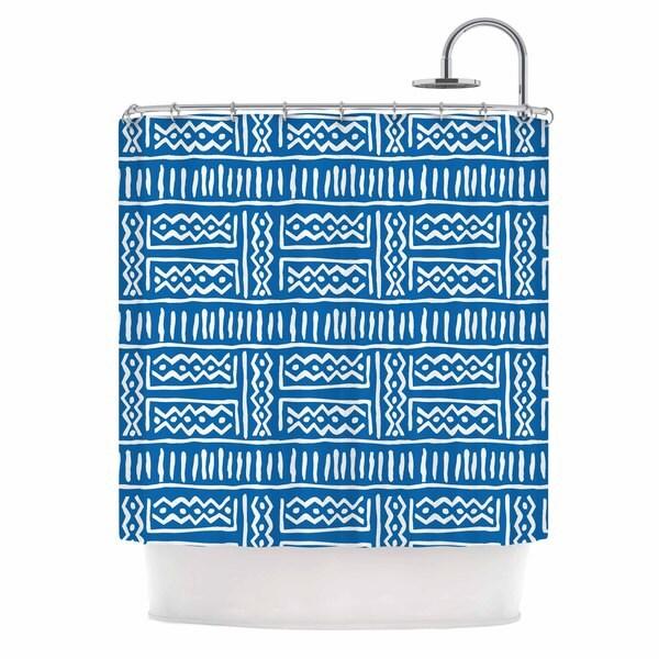KESS InHouse Dan Sekanwagi Lines And Zigzags Blue Tribal Shower Curtain (69x70)