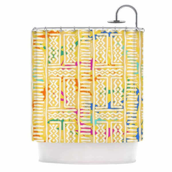 KESS InHouse Dan Sekanwagi Lines And Zigzags - Colorful Yellow Tribal Shower Curtain (69x70)