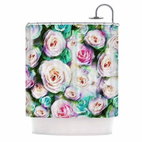 KESS InHouse Dawid Roc Bright Rose Floral Abstract Green Floral Shower Curtain (69x70)