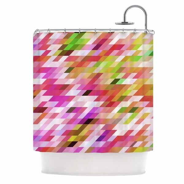 KESS InHouse Dawid Roc Spring Summer Geometric Pastel Digital Shower Curtain (69x70)
