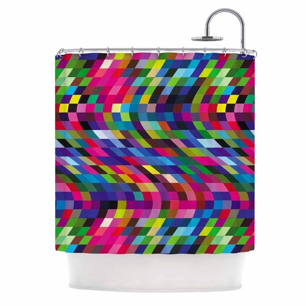 KESS InHouse Dawid Roc Colorful Geometric Movement 1 Multicolor Abstract Shower Curtain (69x70)