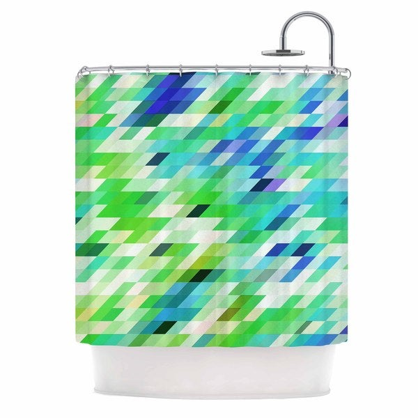 KESS InHouse Dawid Roc Colorful Summer Geometric Green Abstract Shower Curtain (69x70)